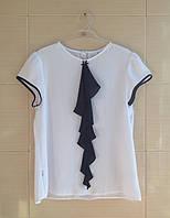 Блуза SLY школьная с коротким рукавом с синим кокелье р.146