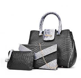 Роскошный набор женских сумок под кожу питона 3в1