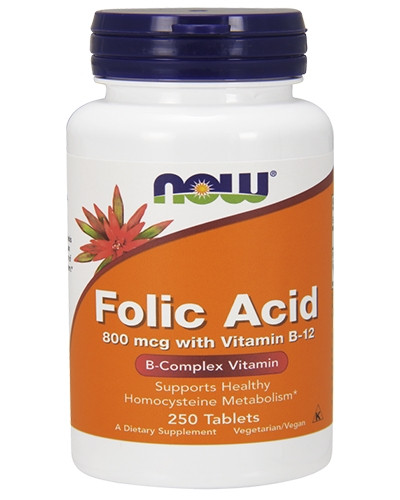 NOW_Folic Acid 800 мкг with Vitamin B-12 - 250 таб