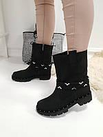 Женские ботинки  черные натуральный  нубук, фото 1