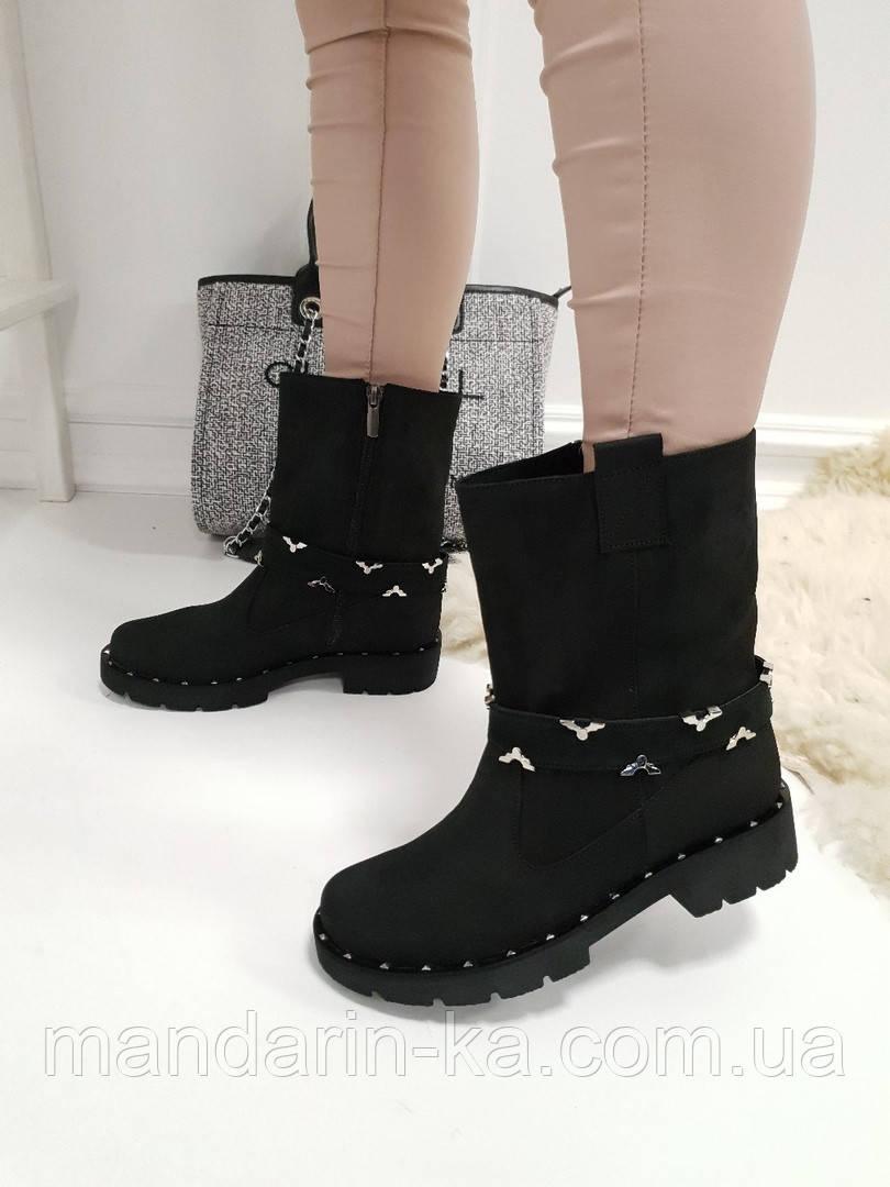 Женские ботинки  черные натуральный  нубук