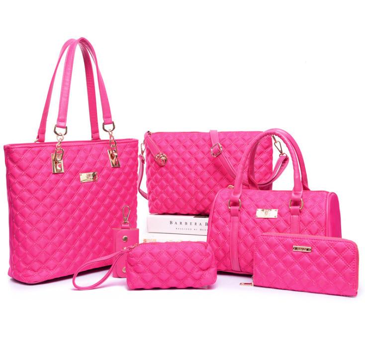 Стильний стьобаний набір жіночих сумок 6в1