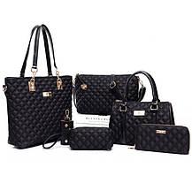 Стильный стеганый набор женских сумок 6в1, фото 3
