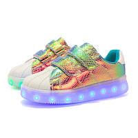 Rainbow Superstar, Радужные кроссовки с подсветкой LED (USB подзарядка), размер 30,31,32,33,35