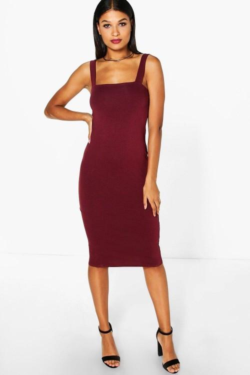 Новое миди платье по фигуре цвета бургунди Boohoo