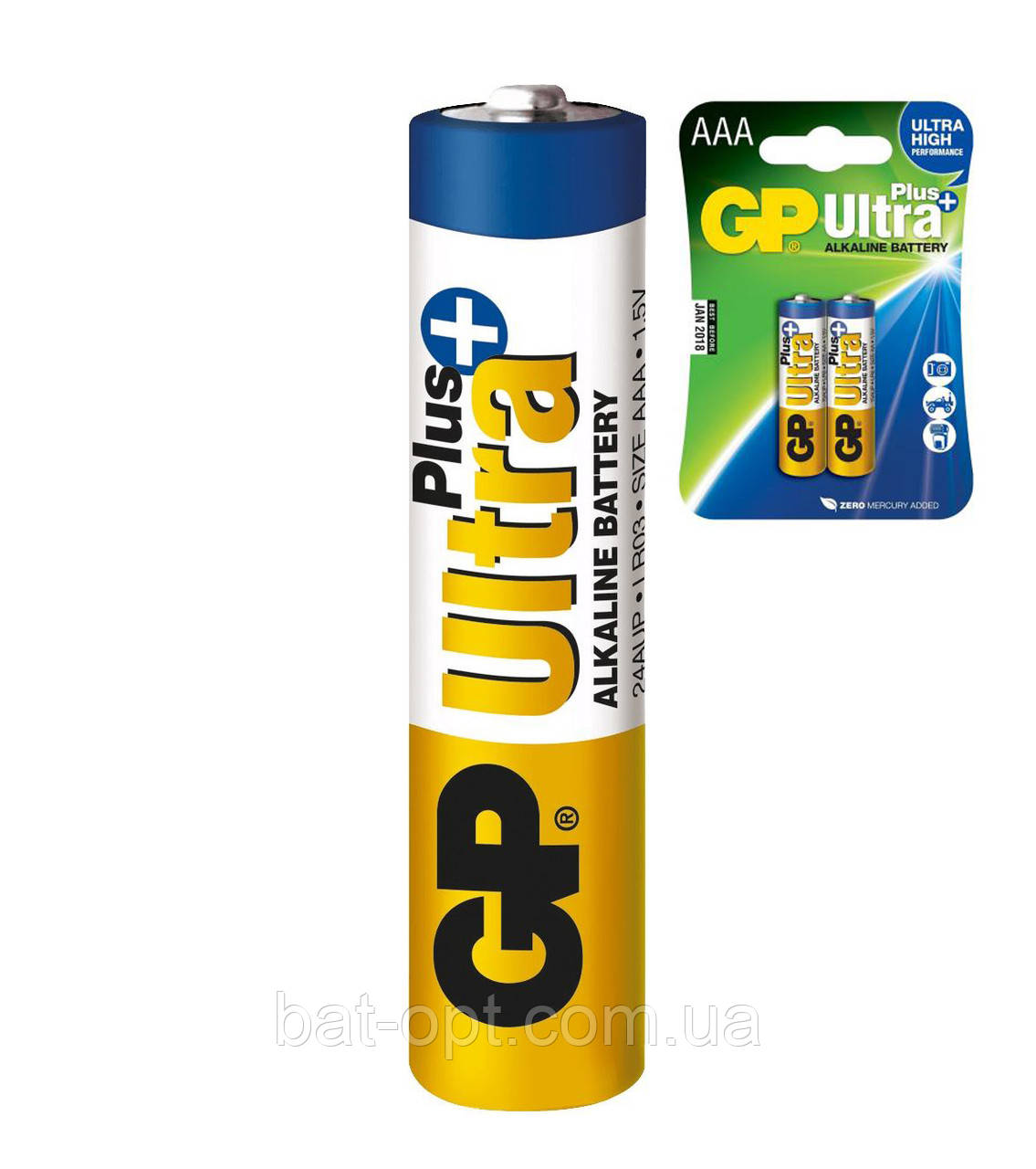 Батарейка щелочная GP 24AUP-U2 Ultra Plus Alkaline LR3 AAA минипальчиковая (блистер)