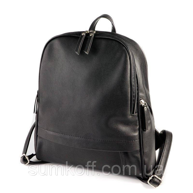 b49ac01153b9 Черный женский рюкзак М179-48 на молнии вместительный городской, фото 1