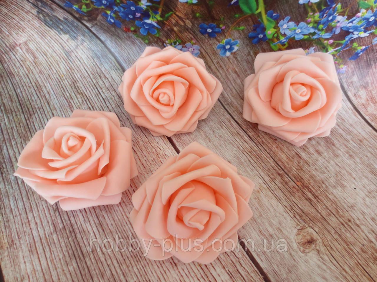 Роза из латекса, цвет персиковый, d 7 см