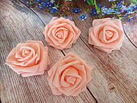 Роза из латекса, цвет персиковый, d 7 см , фото 1