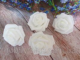 Роза из латекса, цвет белый, d 7 см