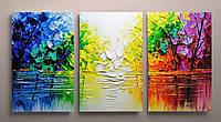 Картина модульная фотопечать на холсте Абстракция Рисунок мазками Яркие краски 120х60 из 3-х частей