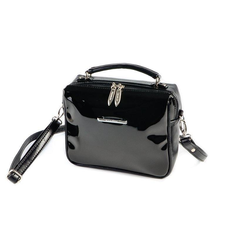 090446b6159b Черная лаковая маленькая сумка М185-Z/лак кросс-боди молодежная через плечо,