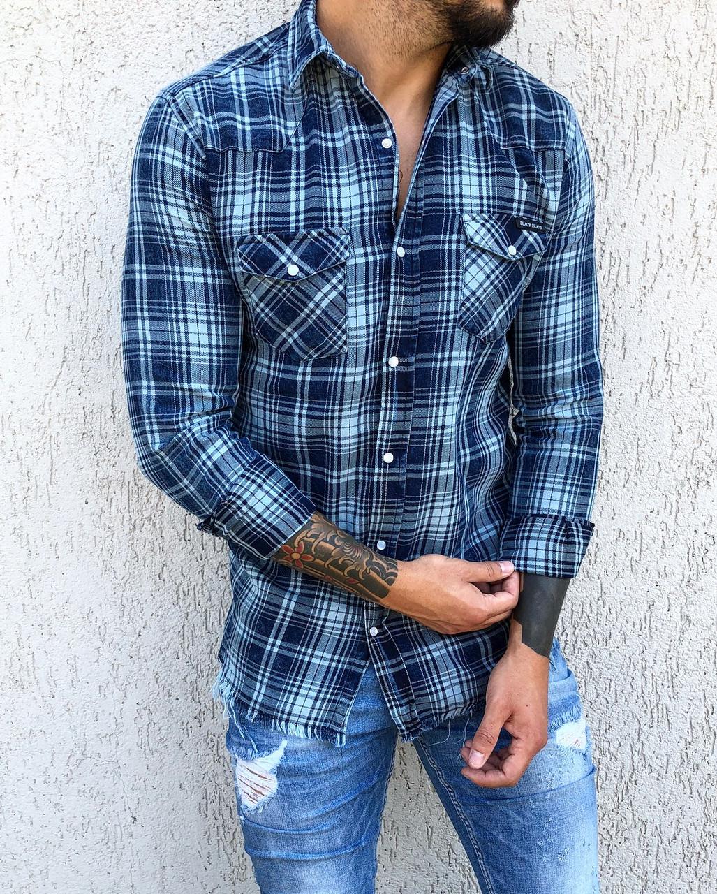 49eea8df2b8 Мужская синяя рубашка в клетку  продажа