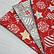 Ткань хлопковая, новогодние шарики золотисто(глиттер)-белые на красном, фото 5