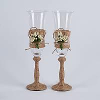 Свадебные бокалы в стиле рустик