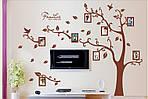 Интерьерная наклейка на стену - Дерево с фоторамками коричневое (отличное качество), фото 2