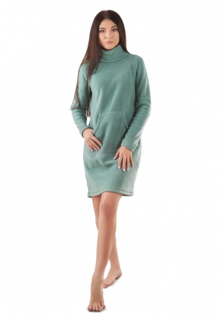 Теплое флисовое платье с карманом кенгуру. Есть большие размеры. Цвета в ассортименте