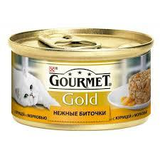 Консервы для кошек с курицей и морковкой GOURMET GOLD , 85 гр*12 шт