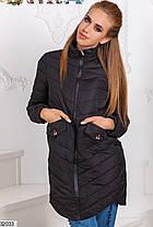 Демисезонная удлиненная куртка стеганая плащевка цвет серый 42 44 46, фото 2