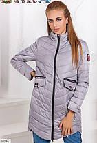 Демисезонная удлиненная куртка стеганая плащевка цвет серый 42 44 46, фото 3