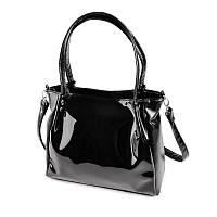 Черная лаковая сумка шоппер М166-Z/лак с длинными ручками на плечо, фото 1