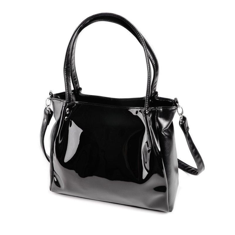 e2f419f35aaa Черная лаковая сумка шоппер М166-Z/лак с длинными ручками на плечо, фото