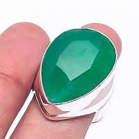 Изумруд кольцо с натуральным изумрудом в серебре 18.5-19 размер Индия, фото 1