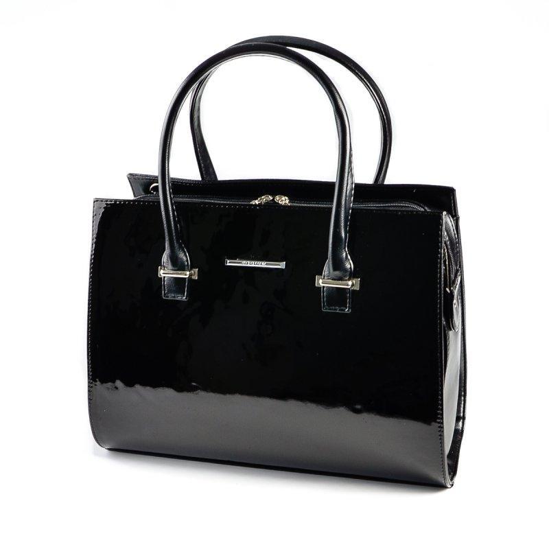 b67e55071a46 Лаковая сумка прямоугольная черная оригинальный саквояж М123-Z/лак -  Интернет магазин сумок SUMKOFF