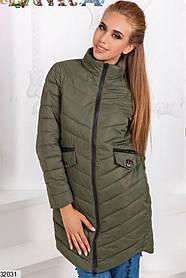 Демисезонная удлиненная куртка стеганая плащевка цвет хаки 42 44 46