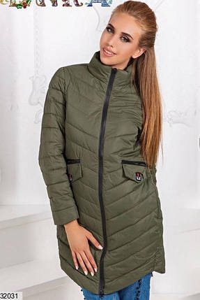 Демисезонная удлиненная куртка стеганая плащевка цвет хаки 42 44 46, фото 2