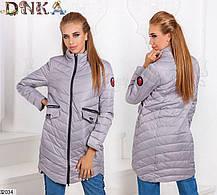 Демисезонная удлиненная куртка стеганая плащевка цвет хаки 42 44 46, фото 3