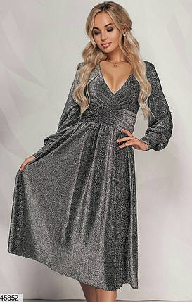Красивое платье на осень миди на запах с длинным рукавом декольте люрекс черное, фото 2