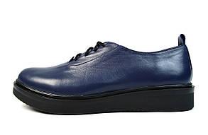 Синие женские кожаные туфли PRIDE
