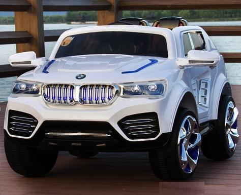 Детский Электромобиль Джип М 2392 BMW белый на аммортизаторах и радиоуправлении, открываются двери