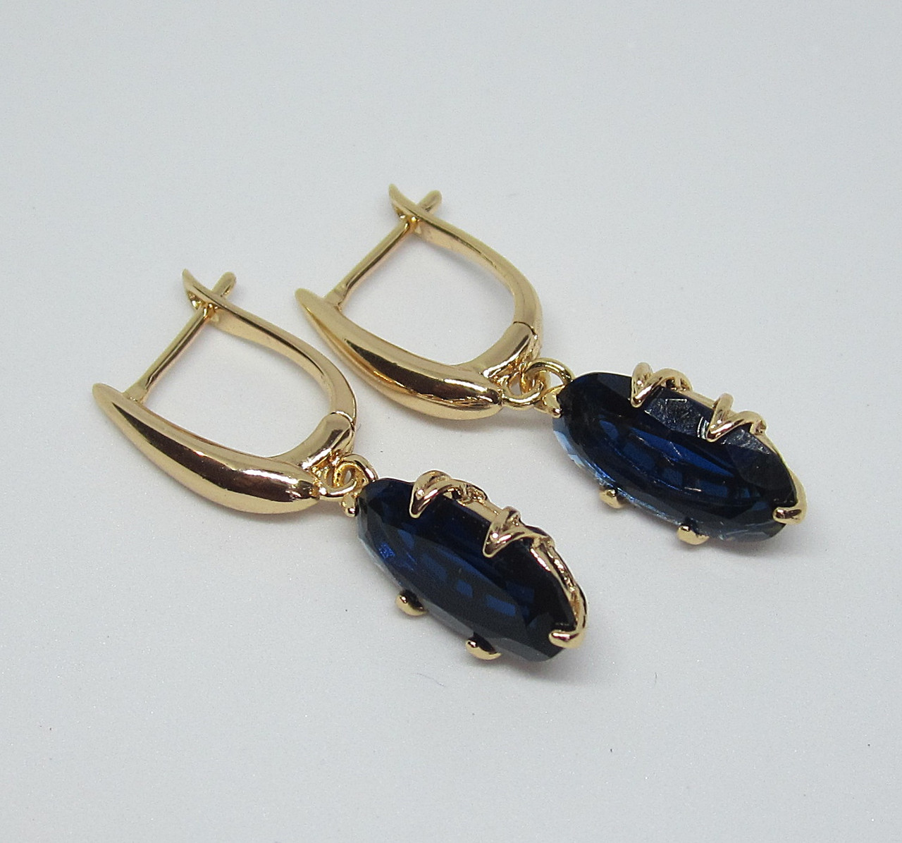Серьги подвески Xuping  Большие длина 36 мм ширина 8 мм синий камень