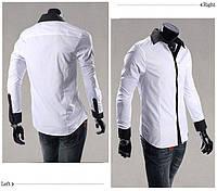 Мужская стильная рубашка с длинным рукавом белая с черной  полоской