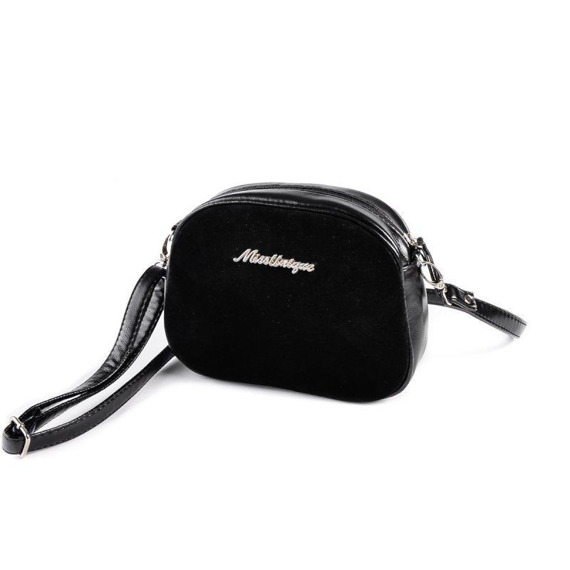 11aa4752d5bb Черная замшевая сумка М174-Z/замш мини кросс-боди через плечо, фото