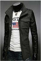 Мужская приталенная куртка из кашемира с рукавами из ко-кожи серая, фото 1
