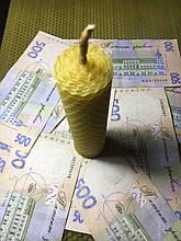 Свеча денежная с пятаком на 13 см из вощины.