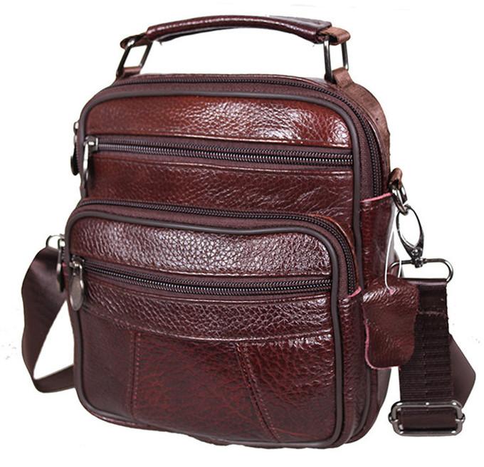 f139c59b01d1 Кожаная мужская сумка Bon101-1 коричневая барсетка через плечо 21х18х9см