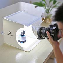 Световой Лайткуб (фотобокс) Puluz с двойной LED подсветкой+ LED платформой  24*23*22 см для предметных фото, фото 3