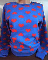 Батник на флисе с сердечками коттоновый женский (L, XL)