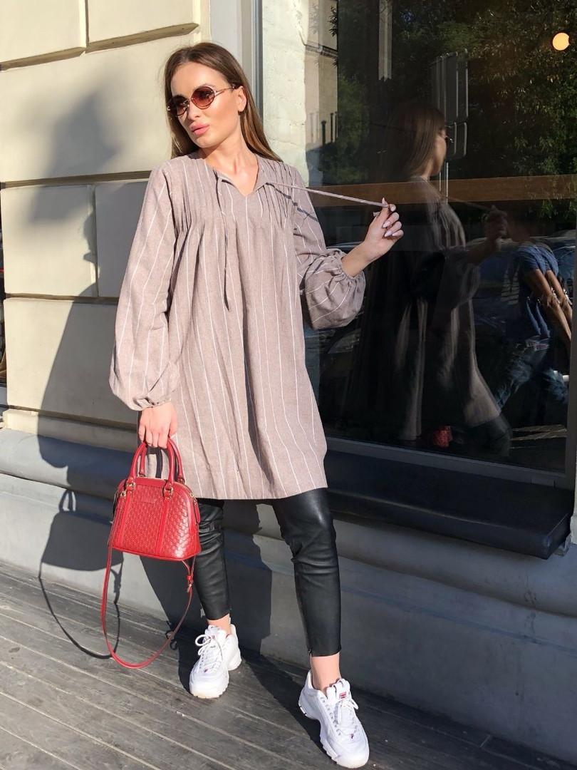 a7bd05ca539 Теплое женское платье в полоску oversize - Magret женская и мужская одежда  от проверенных украинских производителей