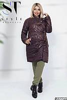Пальто женское Стёганная плащёвка коричневое норма и Батал