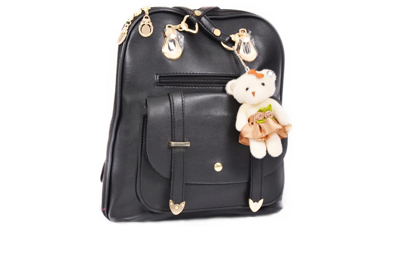 Рюкзак сумка с брелком Mojoyce черный (332)