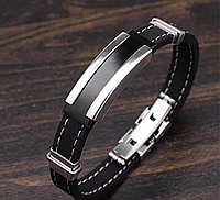 Наручный мужской браслет из каучука со вставками из нержавеющей стали «Men's style», фото 1