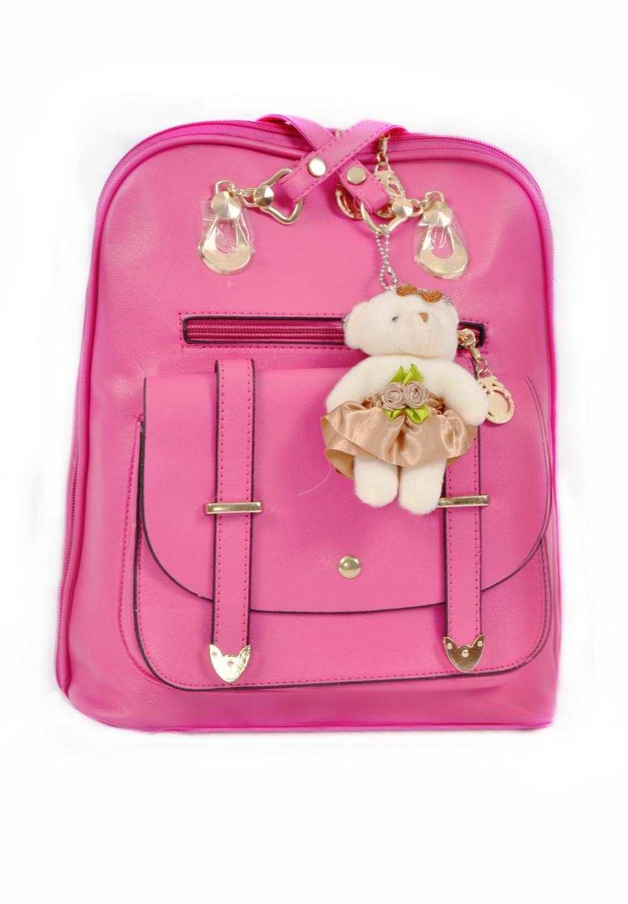 Рюкзак сумка с брелком Mojoyce малиновый (332)