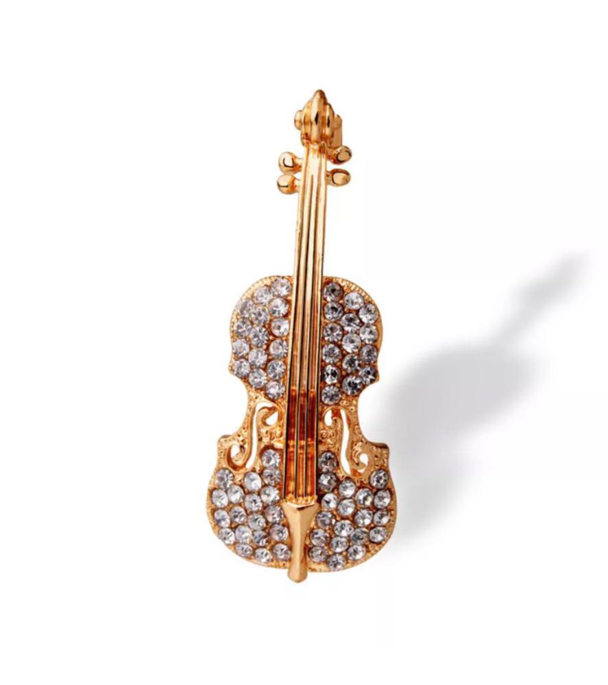 Брошь женская «Violin» золото в форме скрипки с камнями