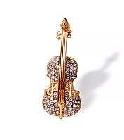 Брошь женская «Violin» золото в форме скрипки с камнями, фото 1