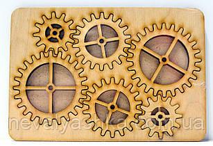 Деревянные шестеренки Набор 6 ШТ дерев'яні шестерінки для скрапбукинга заготовка для  бизиборда декупажа